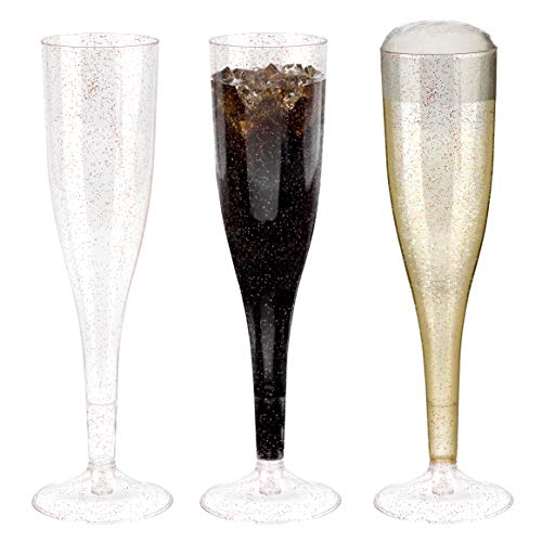 BloominGoods Plastic Champagne Flutes | 50 LARGE 7 oz Rose Gold Glitter Champagne Toasting Glasses | Disposable or Reusable (50-Pack)]()