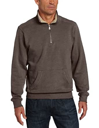 GH Bass Men's Fleece Pullover with Pocket, Black Coffee, Large