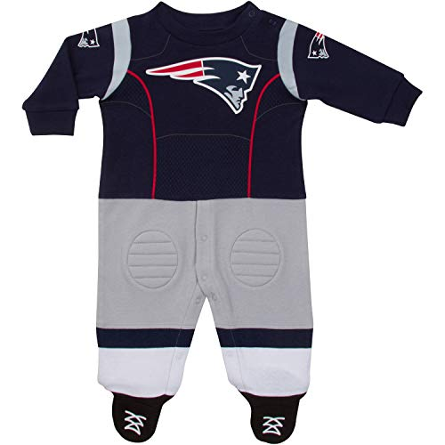 NFL New England Patriots Unisex-Baby Footysuit Coverall, Blue, 0-3 Months