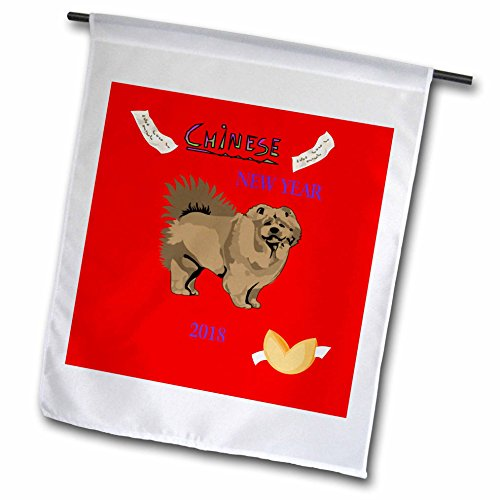 3dRose Chinese New Year - Image of Chinese New Year With Chow Dog and Fortune Cookie - 18 x 27 inch Garden Flag (fl_262600_2) (Chow Garden Flag)