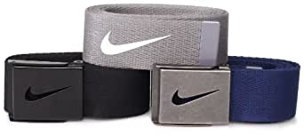 Nike Mens Tech Essentials 3 Pack Belt Gift Set, Black/Gray/Navy, One Size