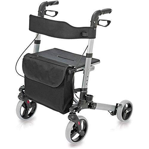 HealthSmart Rollator Walker with Seat and Backrest, Adjustable Handle Height, Removable Storage Bag and a Durable Lightweight Frame That Easily Folds While Supporting up to 300 pounds, Titanium