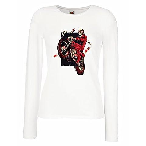 T shirt women Motorcyclist - Motorcycle clothing, vintage designs retro clothing (Medium White Multi - 55w Tv