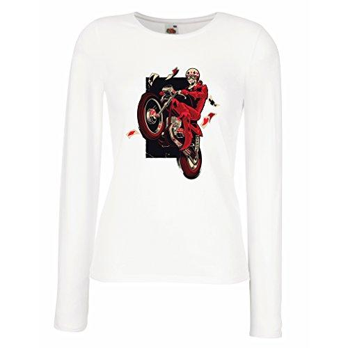 Camisetas de Manga Larga para Mujer Motociclista - ropa de motocicleta, ropa retro Blanco Multicolor