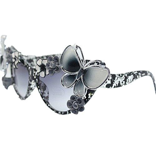 a Gafas de los las para blanco gafas de de UV sol la Gu de mano protección con hechas negro la de la Peggy playa verano del sol flor la de la gato mariposa de señora gótica de ojos y 5AqRwnExX5