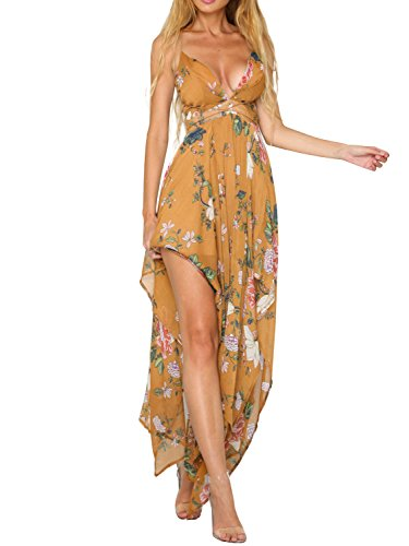 V Dress Print Neck Floral Maxi Backless Women's Simplee Apparel Long Yellow Sexy 0xtISvw