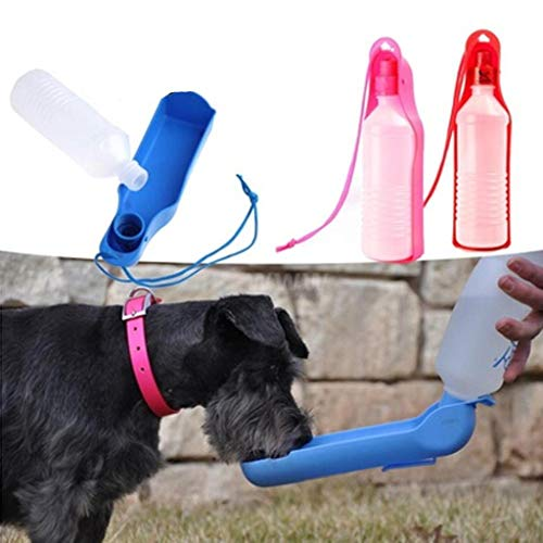 DICPOLIA Pet Supplies Dog Water Bottle, Leak Proof Portable Puppy Water Dispenser Drinking Feeder Pets Outdoor Walking, Hiking,Travel Antibacterial Food Grade Plastic (Blue) ()