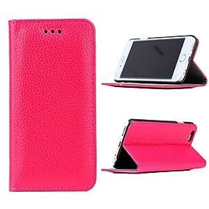 GX patrón de Lichee casos color sólido cuero genuino cuerpo completo con pie de apoyo para iphone 6 , Red