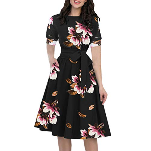 REXINTE Women O-Neck Short Puff Sleeve Dresses Knee-Length Casual Tie Waist Dress Floral A-Line Gown with Pocket (Black, L)