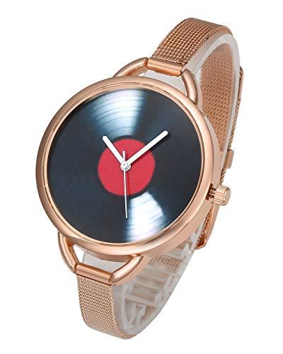 Top Plaza Womens Stainless Steel Analog Quartz Watch Fashion Causal Bracelet Bangle Cuff Wrist Watches, Unique CD Vinyl Pattern, Mesh Metal Thin Band - Rose Gold