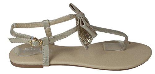 Blonna - coole Sandale mit Metallsteinen Pailetten Knöchelriemchen Schaft Zehentrenner LederOptik Damen Sommer Schuhe 36 37 38 39 40 41 Pailetten Schleife Gold