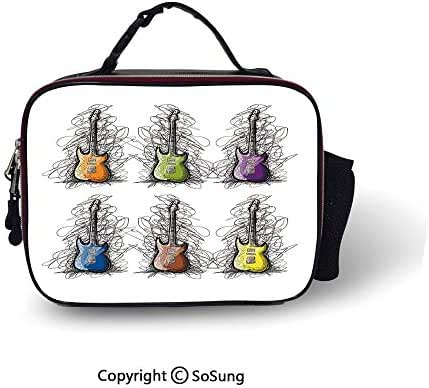 Music Decor Insulated Lunch Cooler Bag Sketchy Lined Colored Design Guitar Collage for Teens Rocker Song Lovers Image Fashion model Lunch Tote,10.6x8.3x3.5 inch,Multicolor
