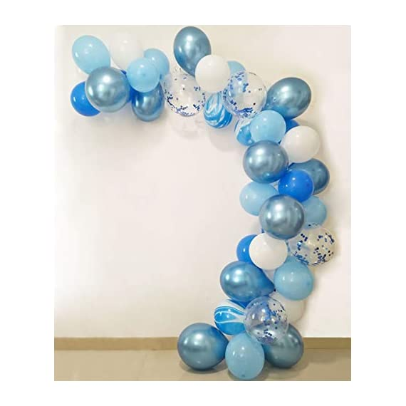 - 41LrSZnnyqL - JAYKIDS Balloons Blue and White Marble 1st 2nd 3th Birthday Party Decorations for Boys Teens Man, 90PCS Blue Agate Blue Marble Balloons, Blue Confetti Balloons and Metallic Blue Balloons Party Supplies for Baby Shower Wedding Balloon Arch