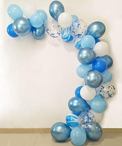 (JAYKIDS Balloons Blue and White Marble 1st 2nd 3th Birthday Party Decorations for Boys Teens Man, 90PCS Blue Agate Blue Marble Balloons, Blue Confetti Balloons and Metallic Blue Balloons Party Supplies for Baby Shower Wedding Balloon Arch)