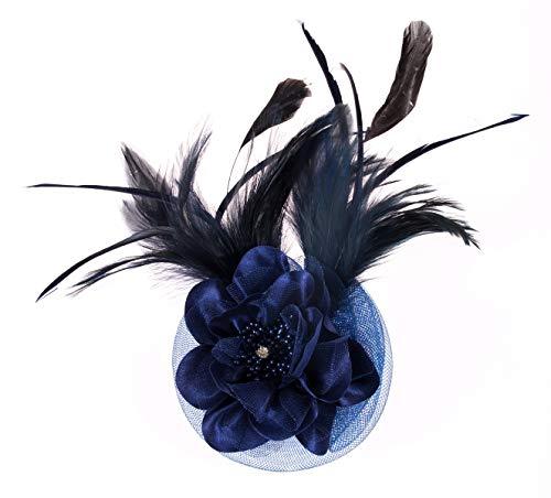 Fascinator Headband Women Mesh Feather Flower Hair Clip Brooch Corsage Girls Wedding Tea Party Derby Cocktail Headwear Hairpin Head Decoration(Navy Blue)]()