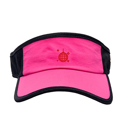 Womens Sun Hat Embroidered Disco Ball Outdoor Visor Camping Hiking Headwear Pink (Disco (Disco Ball Hat)