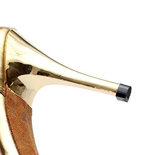 JSHOE Chaussures De Danse Latine Pour Femmes Salsa / Tango / Chacha / Samba / Moderne / Chaussures De Jazz Sandales Talons Hauts,Gold-heeled8.5cm-UK4/EU35/Our36