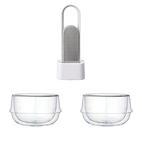KINTO LOOP Tea White Strainer and Two KRONOS Double Wall Glass Soup Bowl, Set of 3 by KitcheNova