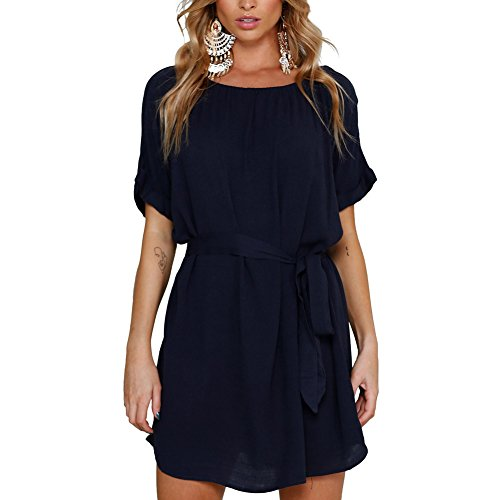 Ruyan Women's Navy Casual Chic Short Chiffon Summer Mini Dress Short Sleeve with - Sleeve Mini Short Dress Chic
