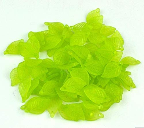 - Pukido ! Frosted Acrylic Lucite Leaf Beads 500pcs/lot Green Leaves Frosted Acrylic Pendant 1118mm - (Color: Green)