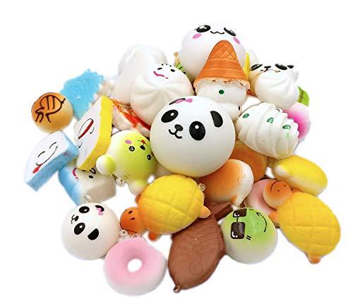 R.FLOWER 10PCS Random Jumbo Soft Squishy Cream Scented Slow Rising Kawaii Simulation Bread Children Toy Medium Mini Squishies Cake/Panda/Bread/Buns Phone Straps -