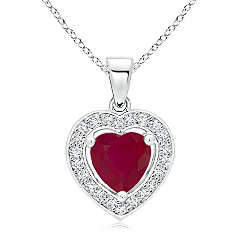 844281d3b Floating Ruby Heart Pendant with Diamond Halo in Platinum (6mm Ruby):  Amazon.ca: Jewelry