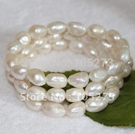 (Gabcus Genuine 3Strand White Color Genuine Freshwater Pearl Bracelet 7.5'inchs AA 8X12MM Fashion Jewelry Wholesale FN2335)