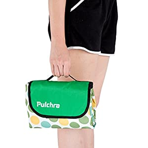 "Pulchra Picnic Blanket Waterproof Premium Quality (600D Oxford Fabric) Large (80""×60"") Foldable Outdoor Camping Beach Mats Blankets Baby Crawling Mat for Outing Grass Trip Party (Lime Circle)"