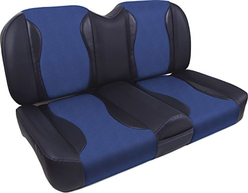 Seats For Club Car Precedent Golf Carts. Two-Tone Blue/Black. Many Color Choices. No Stapling, Easy To Install Bolt-On Design. Foam And Vinyl. Matching Rear Seat Covers Sold Separately. - Recessed Rear Seat