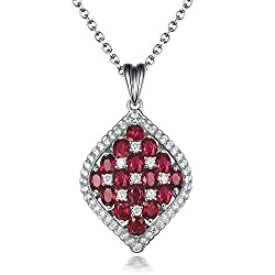 White Gold Emerald Ruby Sapphire Diamond Necklace