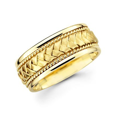 Solid 14k Yellow Gold Mens Braided Rope Design Wedding Ring Band 8mm