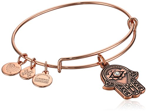 Alex and Ani Women's Hand of Fatima Rose Gold Charm Bangle Bracelet, Expandable ()