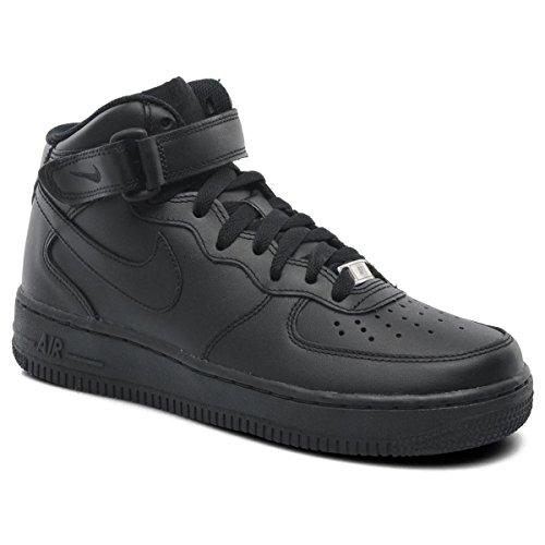 NIKE Wmns Air Force 1 Mid 07 Leather Women Lifestyle Casual Sneakers New All Black - 7.5