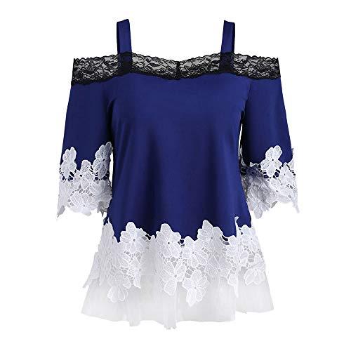Henleys,Toimoth Womens Short Sleeve V Neck Floral Printed Ruffle Shirt Loose Zipper Tunic Tops (Blue3,S)