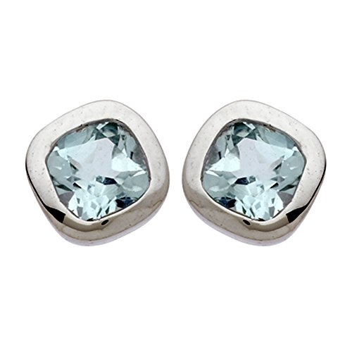 DIAMANTLY Boucles d'oreilles or gris 375 bouton carre topaze