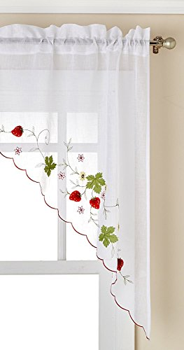 Ben & Jonah Embroidered Elegance by Ben&Jonah Strawberry Tailored Kitchen Curtain Swag (58
