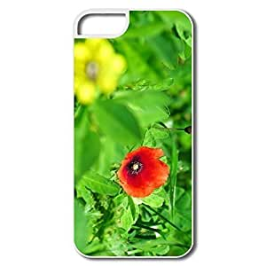 IPhone 5 5S Cases, Poppy White Cover For IPhone 5