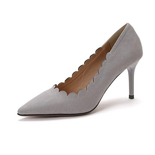 Zapatos de Mujer Gamuza de Verano Confort Sandalias Zapatos para Caminar Tacón de Aguja Puntiagudo para Exterior Negro, Albaricoque, Gris A