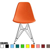 2xhome - Orange - Eames Style Side Chair Chromed Wire Legs Eiffel Legs Dining Room Chair No Arm Arms Armless Less Chairs Seats Dowel Leg Base Molded Plastic