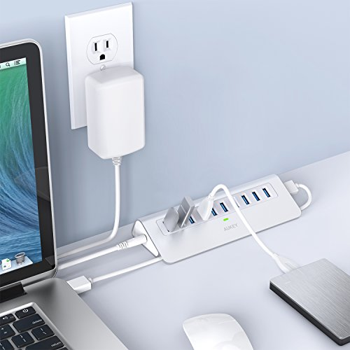 AUKEY Powered USB Hub, Aluminum 10 Port USB 3.0 Data Hub with 12V/3A Power Adapter, 3.3ft USB Cable for MacBook Air, Mac mini, iMac, Laptop, PC, USB Flash Drives, HDD Hard Drive (Silver) by AUKEY (Image #4)