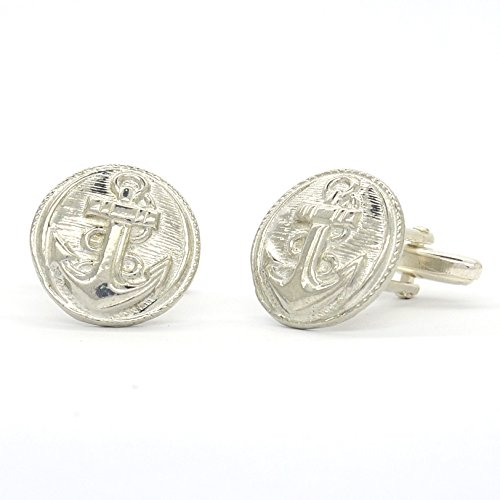 Luxury Beaten Fine Pewter Anchor Cufflinks, Handcast by William Sturt