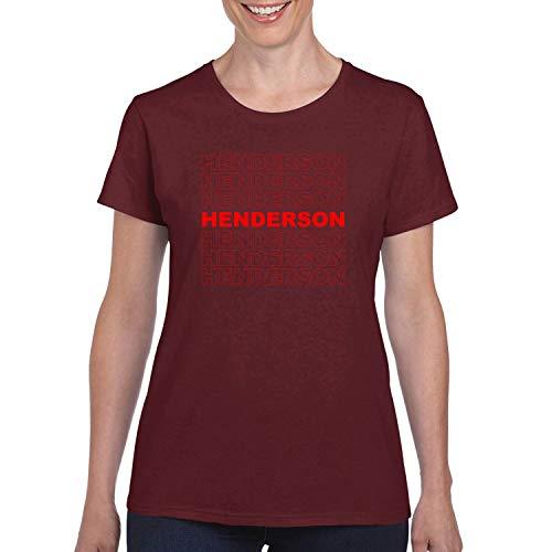 Red Box Logo Henderson City Pride Womens Graphic T-Shirt, Maroon, Large -