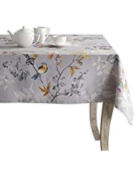 Maison d' Hermine Equinoxe 100% Cotton Grey Tablecloth 60 Inch by 60 Inch.