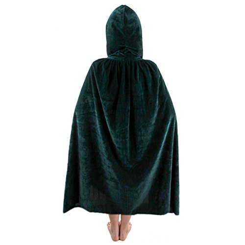 SUNYIK Unisex Kids Velvet Long Hooded Cloak Cape Halloween Party Role Cosplay Costumes,Green,S ()