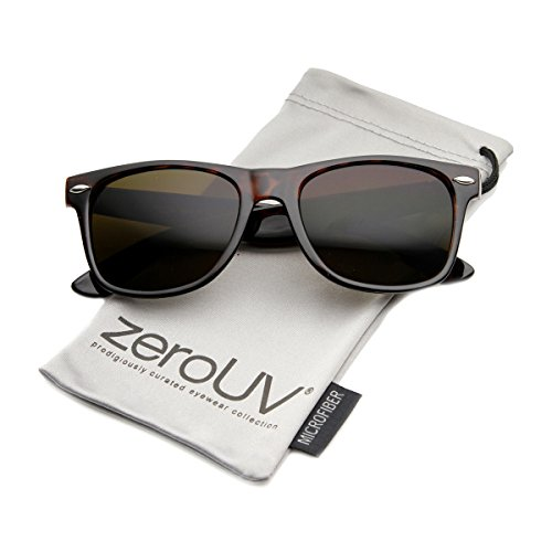 zeroUV - Classic Eyewear 80's Retro Large Horn Rimmed Style Sunglasses - Brown Tortoise
