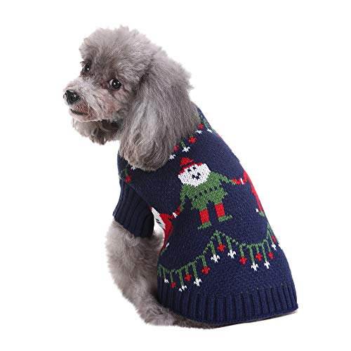 FTXJ Christmas Pet Dog Clothing Green Old Man/Red Snowman Polyester T Shirt Puppy Costume (S, Navy) for $<!--$6.34-->
