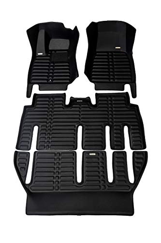 TuxMat Custom Car Floor Mats for Tesla Model X 7-Seater Fold-Flat 2016-2019 Models- Laser Measured, Largest Coverage, Waterproof, All Weather.The BestTesla Model X Accessory (Full Set - Black)