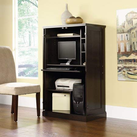 Elegant Space Saving Home Office Computer Armoire, Sturdy and Durable Engineered Wood Construction, Pull-Out Keyboard Shelf, CPU Storage Cubby, Printer Shelf, Multiple Color Options
