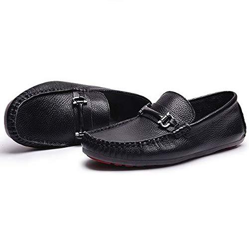 Hombres Cuero Zapatos de Casuales de para Negro de conducción Primavera Zapatos Z6qPg