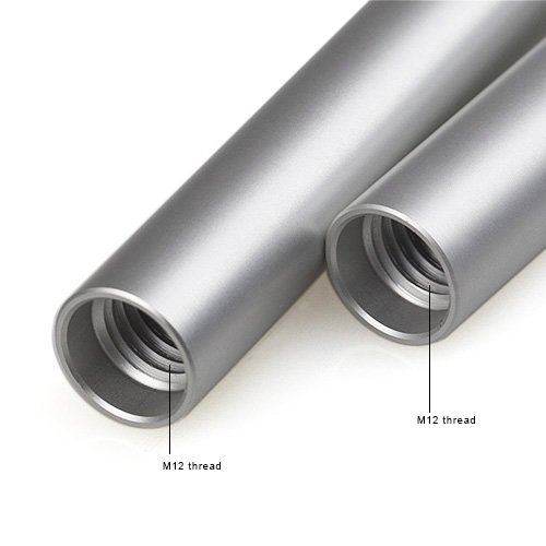 Smallrig® Silver Finish Aluminum Alloy 15mm Rods w/ M12 Female Thread - 15cm 5.9 Inches Long - 1206